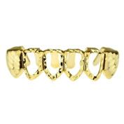 14K Gold Plated Grillz Diamond-Cut Lower Bottom Teeth Four 4 Open Face Hip Hop Grills