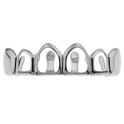 4 Four Open Face Grillz Top Row Upper Teeth Silver Tone Hip Hop Mouth Grills