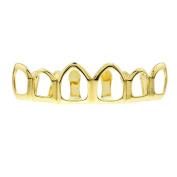 14K Gold Plated Grillz Upper Top Teeth 6 Six Open Face Hollow Hop Hop Grills
