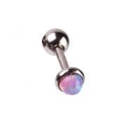 Body Jewellery 16 Gauge Straight Barbell for Cartilage Piercing with Many Options of Synthetic Opal End