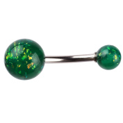 14g Navel Ring Dual Synthetic Set Opals