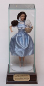 30cm Size Doll Personalised Glass Display Case with Cherry Finish Wood Platform Base - Free Engraving