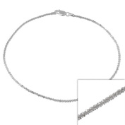 """Sterling Silver Italian 2mm Twisted Sparkle Chain Anklet 9"""" 10"""""""
