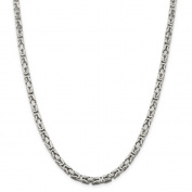 Sterling Silver 5mm Square Byzantine Chain Anklet - 30.2 Grammes - 9 Inch - Lobster Claw