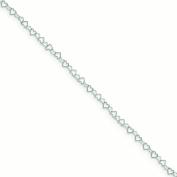Sterling Silver 0.5mm Fancy Heart Link Anklet - 1.4 Grammes - 10 Inch - Spring Ring