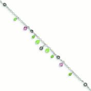 Pink Crystal Green Quartz Peridot Ankle Bracelet -23cm - Spring Ring