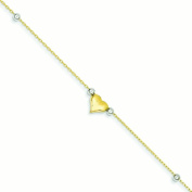 14k Two-Tone Gold Adjustable Puffed Heart Beads Anklet - 1.4 Grammes - 25cm - Spring Ring