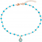 Lesa Michele Clear/Lab-Created Turquoise Genuine Cubic Zirconia Disc Charm Bead Station Anklet in Rose Gold over Sterling Silverin Sterling Silver