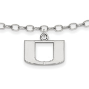 University of Miami Hurricanes Anklet in Sterling Silver 3.45 gr
