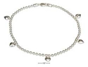 STERLING SILVER 25cm ITALIAN BEAD CHAIN WITH HEART CHARMS ANKLET