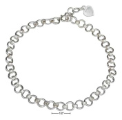 STERLING SILVER 25cm COIL AND CIRCLE LINK ANKLET