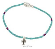 STERLING SILVER 23cm AQUA AND SILVER BEADED ANKLET WITH CROSS DANGLE