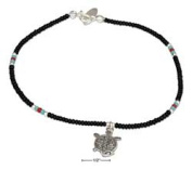 STERLING SILVER 23cm BLACK AND SILVER BEADED ANKLET WITH TURTLE DANGLE