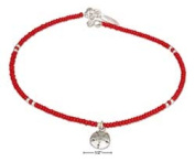 STERLING SILVER 23cm RED AND SILVER BEADED ANKLET WITH SAND DOLLAR DANGLE