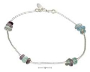 STERLING SILVER 23cm LIQUID SILVER AND GENUINE RAINBOW FLUORITE ANKLET