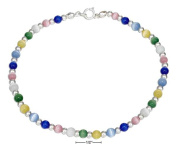 STERLING SILVER 23cm SILVER AND MULTICOLOR CAT EYE BEAD ANKLET