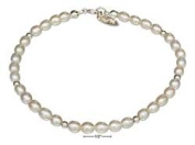 STERLING SILVER 23cm GENUINE WHITE FRESH WATER PEARL ANKLET