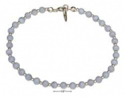 STERLING SILVER 23cm BEADED GENUINE BLUE LACE AGATE ANKLET