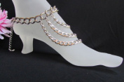 Women Anklet Foot Silver Metal Chunky Chains Fashion Chains Body Boot Jewellery