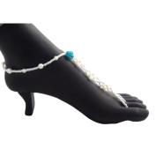 Blue Rose Pearl Beaded Barefoot Sandal Anklet Jewellery, Beach Wedding Footwear