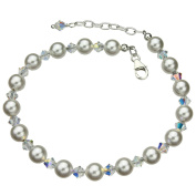Elements Crystals and Simulated Pearls Sterling Silver Anklet, 23cm +2.5cm Extender