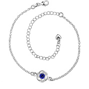 Sterling Silver Anklet with Blue Sapphire Rhinestone