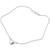 Sterling Essentials Sterling Silver 23cm Heart Rope Chain Anklet