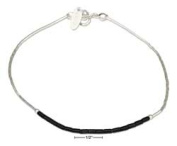 STERLING SILVER 23cm LIQUID SILVER AND BLACK HEISHI BEAD ANKLET