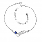 Stylish 925 Sterling Silver Blue Rhinestone Anklet Chain