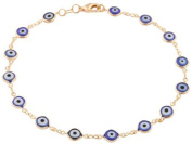 Two Year Warranty Gold Overlay with Navy Blue Mini Evil Eye Style 25cm Anklet