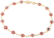 Two Year Warranty Gold Overlay with Red Mini Evil Eye Style 25cm Anklet