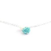 Ocean Blue Rose Anklet Jewellery with Pearl Drop