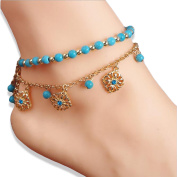 Stylish Double Anklet Jewellery with Turquoise Beads and Gold Plated Chain