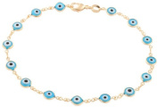 Two Year Warranty Gold Overlay with Light Blue Mini Evil Eye Style 25cm Anklet
