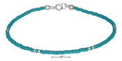 STERLING SILVER 23cm LIGHT BLUE AND SILVER BEADED ANKLET