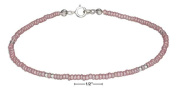 STERLING SILVER 23cm PINK AND SILVER BEADED ANKLET