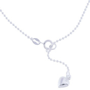 Sterling Essentials Sterling Silver 23cm plus 2.5cm extension Bead Chain with Heart Charm Anklet