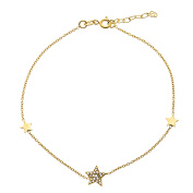 18K Gold Sterling Silver Cubic Zirconia Multi Star Charm Anklet