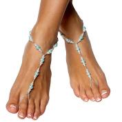 Handmade Blue Pearls Barefoot Sandals Set, Beach Wedding Jewellery Anklet