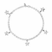 Sterling Silver Puffed Star Charm Anklet