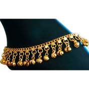 Indian Traditional Belly Dance Ghungroo Brass Anklet with Jingling Bells Gold-Toned