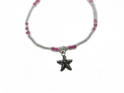 Charming Shark Womens Beads with Starfish Anklet 23cm Pink