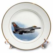 3dRose LLC F-16 Jet Aircraft 20cm Porcelain Plate