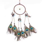 Peacock Feathers Circle Dream Catcher Wall/Car Hanging Decoration Minzhi