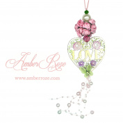 Rose Ball with Love Heart Hanging