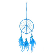 Handmade Blue Feather Dream Catcher Feather Car Wall Hanging Decor Craft