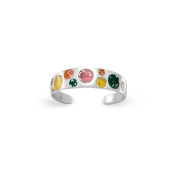 5mm Polished Sterling Silver Toe Ring With Multicolor Sparkle Epoxy Circle Design