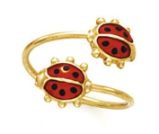 14k Yellow Gold Double Ladybug Toe Ring - 1.1 Grammes