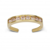 14k Yellow Gold Pink Cubic Zirconia Adjustable Elegant Multistone Body Jewellery Toe Ring