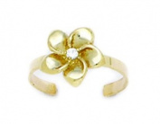 14k Yellow Gold Adjustable Flower Body Jewellery Toe Ring